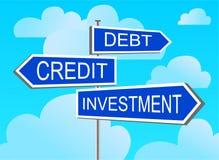 investering för krediteringsskuldindex vektor illustrationer