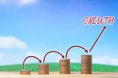 Investering, financieel, bedrijfsconcept Het geld van muntstukstapel met pijl voert de groeiende groei op blauwe hemel en witte w stock foto's