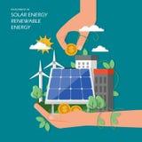 Investering i sol- förnybara energikällorvektorillustration stock illustrationer