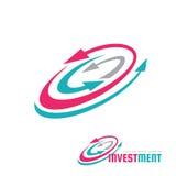 Investering - illustration för begrepp för vektorlogomall Tecken för pilsystemdiagram Abstrakt symbol för symbol för affärsstrate stock illustrationer