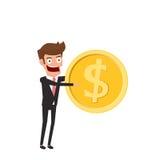 Investering- och besparingbegrepp Affärsman som rymmer det guld- myntet Ökande huvudstad och vinster Växa för rikedom och för bes royaltyfri illustrationer