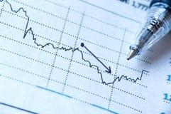 Investering och penna för rapport pappers- Arkivbild