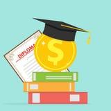 Investering in onderwijs Een gouden muntstuk met boeken en een gediplomeerd GLB Stock Foto