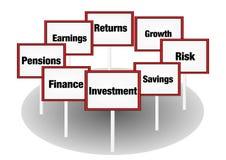 Investeringbegreppstecken Arkivfoton