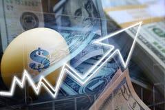 Investeringen die met Gouden die Ei groeien met Geld wordt omringd royalty-vrije stock foto