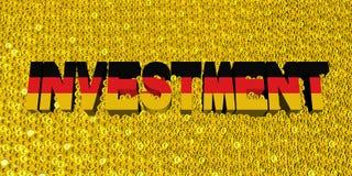 Investeringstekst met Duitse vlag op muntstukkenillustratie vector illustratie