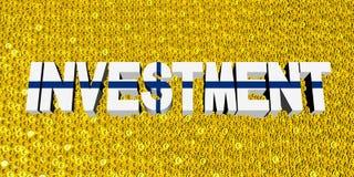 Investeringstekst met Finse vlag op muntstukkenillustratie stock illustratie