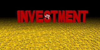 Investeringstekst met Hong Kong-vlag op muntstukkenillustratie vector illustratie