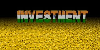 Investeringstekst met Indische vlag op muntstukkenillustratie vector illustratie