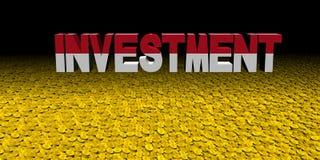 Investeringstekst met Indonesische vlag met muntstukkenillustratie royalty-vrije illustratie