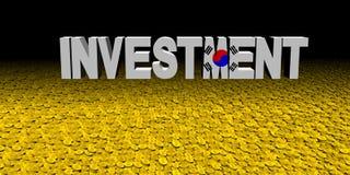 Investeringstekst met Koreaanse vlag met muntstukkenillustratie royalty-vrije illustratie