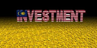 Investeringstekst met Maleise vlag met muntstukkenillustratie royalty-vrije illustratie