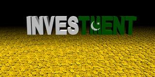 Investeringstekst met Pakistaanse vlag op muntstukkenillustratie vector illustratie