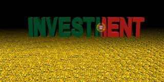 Investeringstekst met Portugese vlag op muntstukkenillustratie vector illustratie