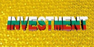 Investeringtext med den bulgariska flaggan på myntillustration vektor illustrationer