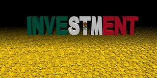 Investeringtext med den mexicanska flaggan på myntillustration stock illustrationer