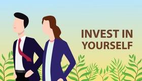 Investieren Sie in sich Konzept mit dem Geschäftsmann und Geschäftsfrau, die zusammen steht, suchend nach Verbesserung stockfoto