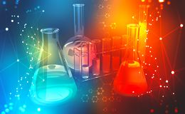 Investigação médica microbiology Estudo da estrutura química das pilhas imagens de stock