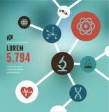 Investigación, bio tecnología y ciencia infographic Imagen de archivo