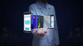 Investigador de sexo femenino, ingeniero, palma abierta del doctor, tarjeta de crédito selecta en el smartphone, móvil, concepto  ilustración del vector