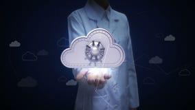 Investigador de sexo femenino, palma abierta del ingeniero, diversos datos en servicio del servidor de la nube con seguridad del  ilustración del vector