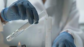 Investigador del laboratorio que vierte la sustancia experimental en el tubo, lección de la química almacen de metraje de vídeo