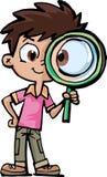Investigador del muchacho con una lupa ilustración del vector