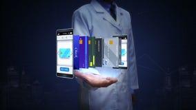 Investigador, ingeniero, palma abierta del doctor, tarjeta de crédito selecta en el smartphone, móvil, concepto de pago móvil stock de ilustración