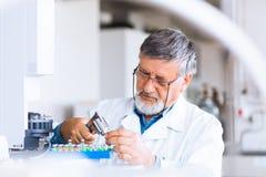 Investigador masculino sênior em um laboratório fotos de stock