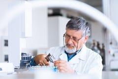 Investigador masculino sênior em um laboratório imagens de stock royalty free