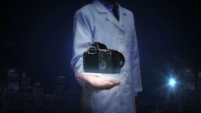 Investigador, palma abierta del ingeniero, cámara de SLR stock de ilustración