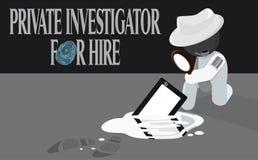 Investigador privado del detective para la ilustración del alquiler ilustración del vector