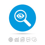 Investigate icon. Magnifying glass with eye. Investigate icon. Magnifying glass with eye symbol. Copy files, chat speech bubble and chart web icons. Vector Stock Photography