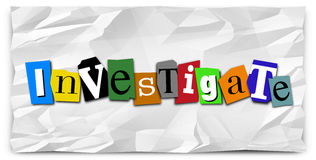 Investigate Word Ransom Note Police Detective Investigation. Investigate word in cut-out magazine letters on crumpled paper to illustrate a police detective Royalty Free Stock Photos