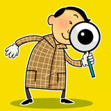 Investigation. Businessman holding a magnifying-glass doing investigation Stock Images
