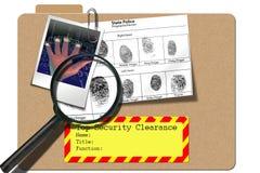 Investigation. Security folder alert system with magnafier and finger prints Royalty Free Stock Images