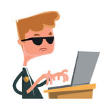 Investigation agent typing at lap top  illustration cartoon character Stock Image