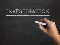 Investigation Blackboard Means Inspect Analyse Stock Photo