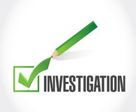 Investigation check mark sign concept Stock Images