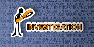 Investigation Concept. Cartoon Character with Magnifying Glass on Blue Background. 3D Render Royalty Free Stock Image
