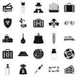 Investigation icons set, simple style. Investigation icons set. Simple set of 25 investigation vector icons for web isolated on white background Royalty Free Stock Photos