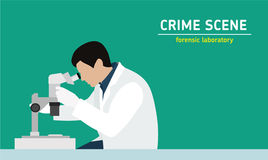 Investigation. Laboratory studies evidence. Forensic procedure. Murder investigation. Flat style illustration. An employee examines with a microscope the Royalty Free Stock Photography