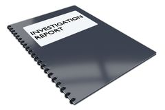 Investigation Report concept. 3D illustration of INVESTIGATION REPORT script on a booklet,  on white Stock Photo