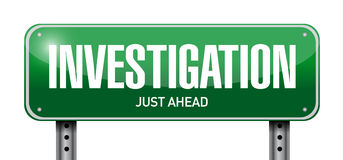 investigation street sign concept illustration Stock Image