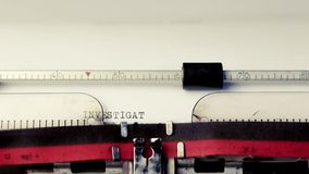 Investigation text on typewriter, concept of investigation old style stock video