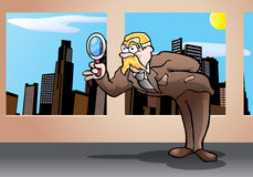 Investigation use a magnifying glass Royalty Free Stock Images