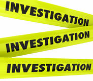 Investigation Word Yellow Crime Scene Police Tape vector illustration