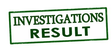 Investigations result. Rubber stamp with text investigations result inside,  illustration Royalty Free Stock Photos