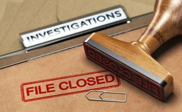 Investigative Services, Abandoned Investigation, File closed. 3D illustration of an investigation file with a rubber stamp and the word file closed. Concept of stock illustration