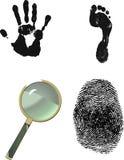 Investigative Set. Finger print, hand print, foot print. Crime scene investigation Stock Image